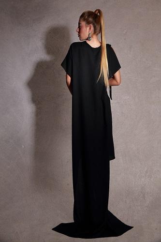 zurh eclipse diseño moda sombra murcia fashion week vestido negro ceremonia coctel largo crepe mujer woman coleccion