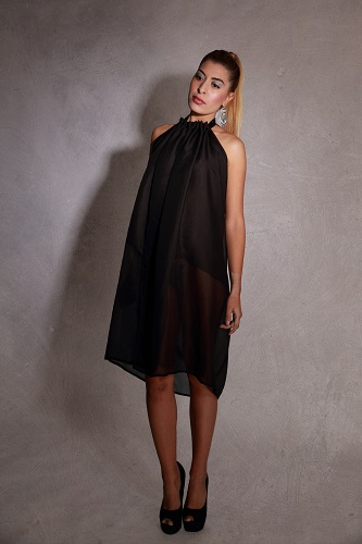 zurh moda renacer diseño mujer seda negro ceremonia boda Reborn Black backless cotton gauze Pretaporter Designer Ceremony Little black dress Cocktail wedding Unique New year eve