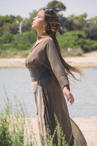 zurh vestido algodon nacar mujer ecologico sostenible falda yute curvy albufera diseño moda woman dress moda fashion qagyuhl